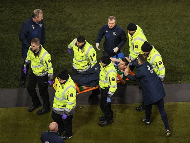 Dublin , Ireland - 24 March 2017; Republic of Ireland assistant manager Roy Keane commiserates with Seamus Coleman after his horrific injury during the FIFA World Cup Qualifier Group D match between Republic of Ireland and Wales at the Aviva Stadium in Dublin. (Photo By Stephen McCarthy/Sportsfile via Getty Images)