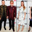 (L to R) David Furnish and Elton John, Heidi Klum and Katy Perry