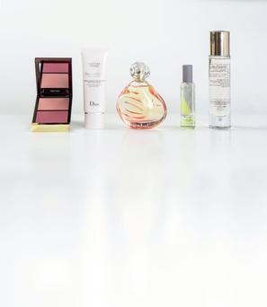 Pictured, from left, Tom Ford Shade and Illuminate Cheeks in Sublimate; Dior DreamSkin 1-Minute Mask; Sisley Izia Eau de Parfum; Jo Malone London Blue Hyacinth Cologne; Estee Lauder Re-Nutriv Floralixir Dew