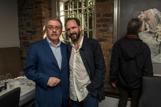 Sunday 26 March 2017. Chapter One Restaurant, Parnell Square. Marking the final day of the Beckett Friel Pinter Festival and Michael Colgan's final day in the Gate Theatre were L to R: Michael Colgan and Ralph Fiennes.