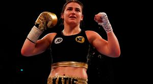 Katie Taylor celebrates her fourth professional victory over Melina Koleva on Saturday. Photo: Reuters / Lee Smith