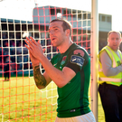 Two-goal hero Karl Sheppard applauds the Cork City supporters after the match at Turner's Cross. Photo by Diarmuid Greene/Sportsfile
