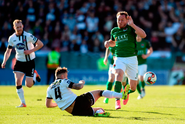 Achille Campion of Cork City in action against Paddy Barrett of Dundalk. Photo by Diarmuid Greene/Sportsfile