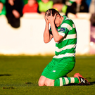 Sean Heaney of Shamrock Rovers reacts after fouling Conan Byrne of St. Patricks Athletic, leading to his second yellow card. Photo by Seb Daly/Sportsfile