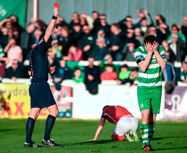 Sean Heaney of Shamrock Rovers reacts after being shown a red card by referee Paul McLaughlin. Photo by Seb Daly/Sportsfile