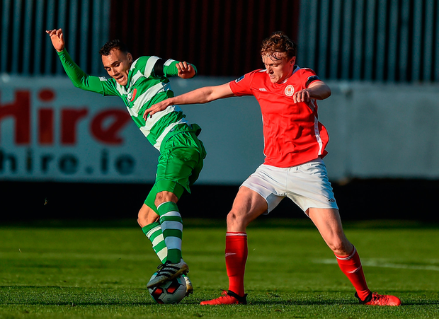 Graham Burke of Shamrock Rovers in action against Jonathan Lunney of St. Patricks Athletic. Photo by Seb Daly/Sportsfile