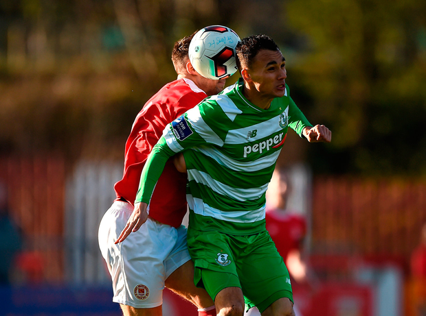 Graham Burke of Shamrock Rovers in action against Graham Kelly of St. Patricks Athletic. Photo by Seb Daly/Sportsfile