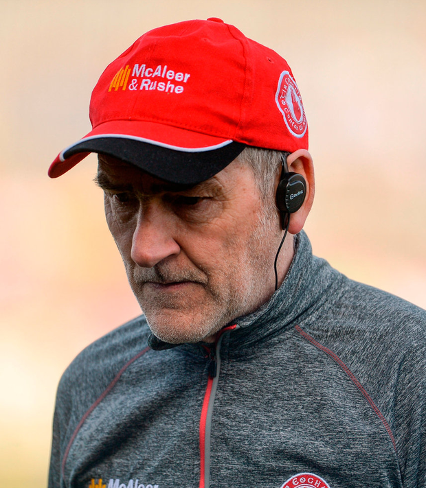 A disappointed Tyrone manager Mickey Harte. Photo: Oliver McVeigh/Sportsfile