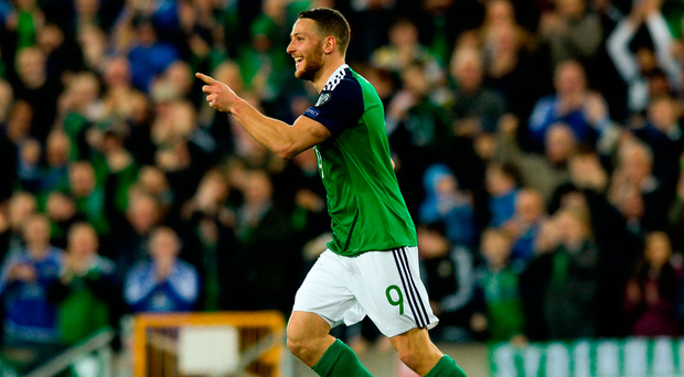 Conor Washington of Northern Ireland celebrates after scoring his side's second goal. Photo by Oliver McVeigh/Sportsfile