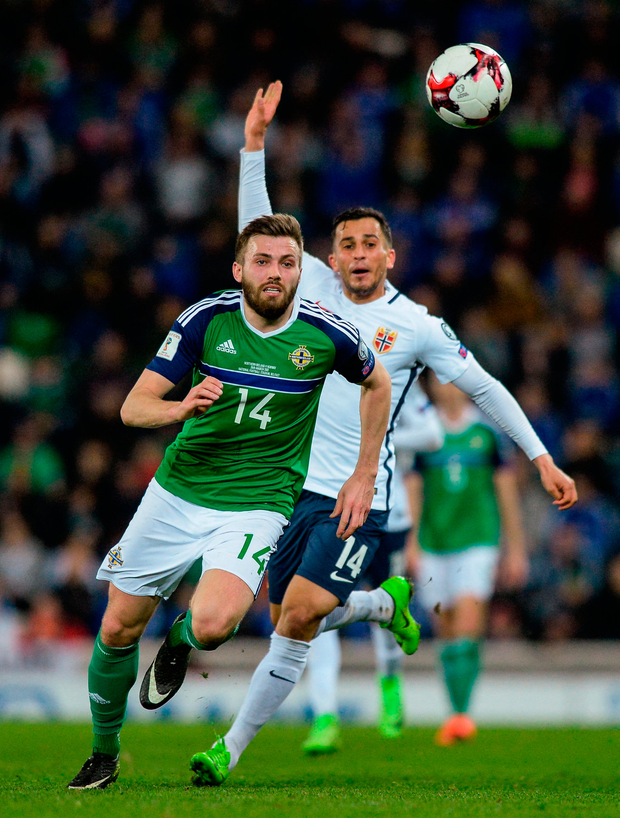 Stuart Dallas of Northern Ireland in action against Omar Elabdellaou of Norway. Photo by Oliver McVeigh/Sportsfile