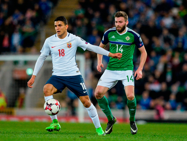 Mohamed Elyounoussi of Norway in action against Stuart Dallas of Northern Ireland. Photo by Oliver McVeigh/Sportsfile
