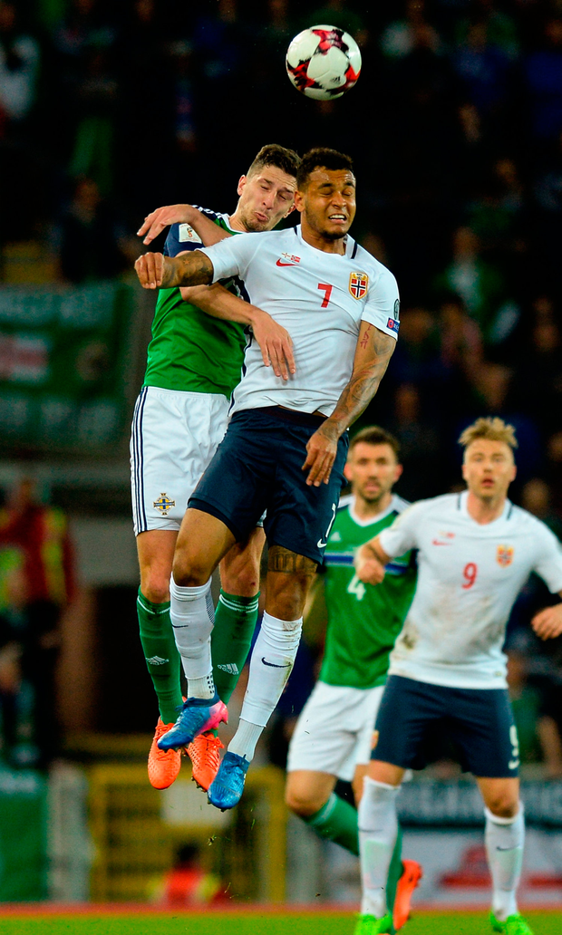 Craig Cathcart of Northern Ireland in action against Joshua King of Norway. Photo by Oliver McVeigh/Sportsfile