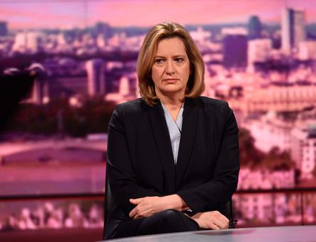 Britain's Home Secretary Amber Rudd, on the BBC's 'Andrew Marr Show' Picture: Reuters