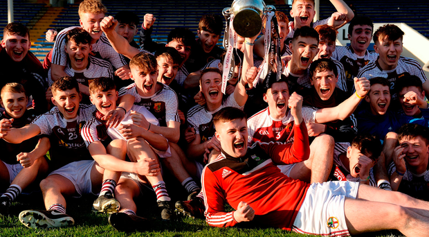 Players from Our Lady's, Templemore celebrate their Masita All-Ireland PP Schools SHC final victory over St Kieran's, Kilkenny in Thurles on Saturday and, below, captain Paddy Cadell raises the Croke Cup. Photo by Piaras Ó Mídheach/Sportsfile