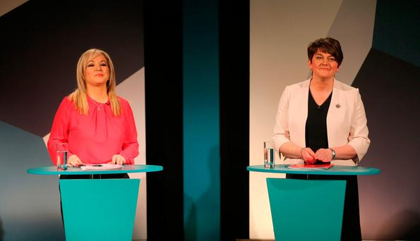 Sinn Fein's Michelle O'Neill and DUP leader Arlene Foster (right). Photo: Niall Carson/PA Wire
