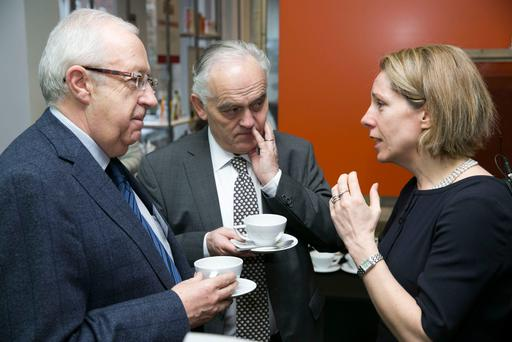 Pictured were Denis O'Riordan, Kerry Group, Tom Moran, Bord Bia and Tara McCarthy, CEO, Bord Bia at the launch of the Brexit Barometer. Photo: Johnny Bambury-Fennells
