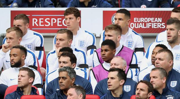 Ross Barkley (back-row centre) has to sit out another England match after being left on the bench