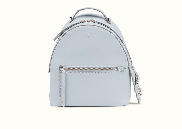 Mini backpack in light blue with feathers, €1,850 by Fendi