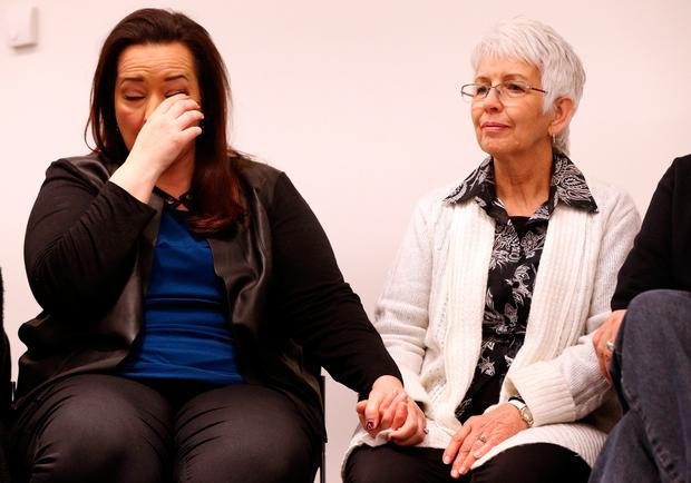 Angela Still (left) and her mother Sandra Payne (right), sister and mother of Melissa the wife of US tourist Kurt Cochran in the Westminster terrorist attack attends a press conference at New Scotland Yard in London, where they said they had been through a