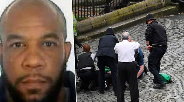 The scene of the attack at Westminster last week (Left: Attacker Khalid Masood)