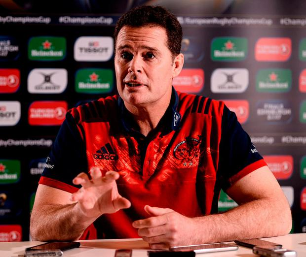 Yesterday's press conference with Rassie Erasmus was dominated by speculation about the future of the Munster head coach and Donnacha Ryan. Photo: Diarmuid Greene/Sportsfile