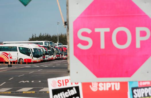 Bus Éireann buses at the Broadstone depot during a strike over the company's implementation of cost reduction measures without union agreement. Photo: Gareth Chaney/Collins