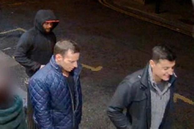 The three men captured on CCTV shortly after the vicious attack in Dublin city centre. Photo: RTE CRIMECALL