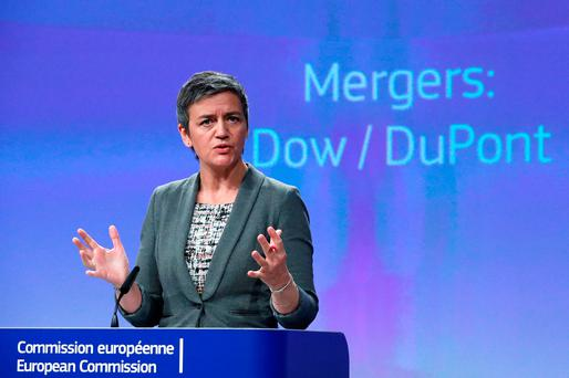 European Competition Commissioner Margrethe Vestager holds a news conference after Dow Chemical gained conditional EU antitrust approval on Monday for their $130 billion merger by agreeing to significant asset sales, one of a trio of mega mergers that will redraw the agrochemicals industry, in Brussels
