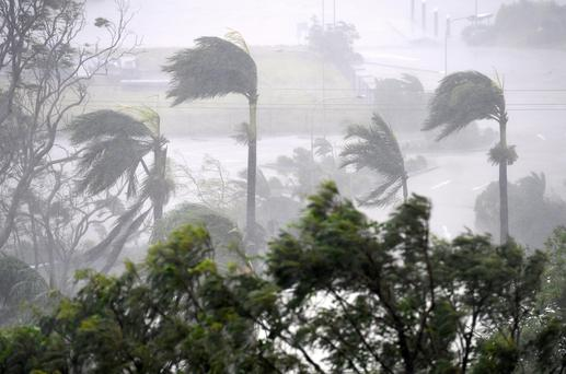 Strong wind and rain from Cyclone Debbie is seen effecting trees at Airlie Beach, located south of the northern Australian city of Townsville, March 28, 2017 Photo: AAP/Dan Peled/via REUTERS
