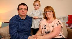 Nigel and Denise Black pictured with their daughter Chloe [2] at their home in Swords.