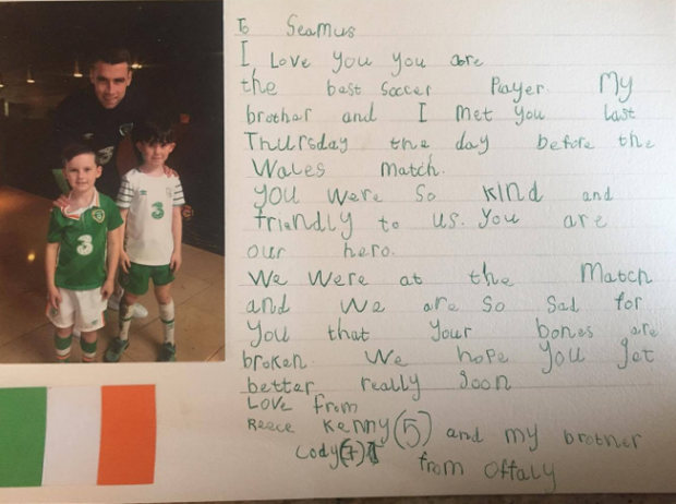 Reece and Cody Kenny's letter to Ireland captain Seamus Coleman