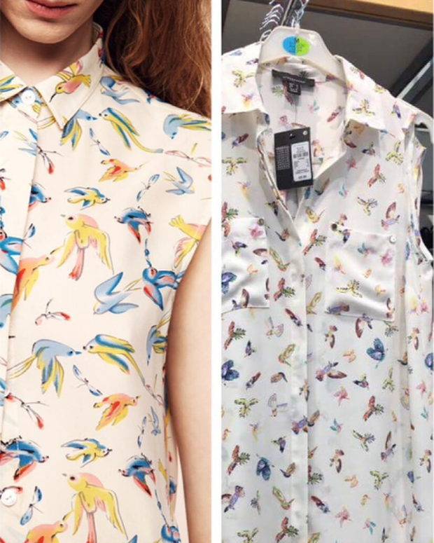 Zoë blouse is on the left and the Penneys item is on the right