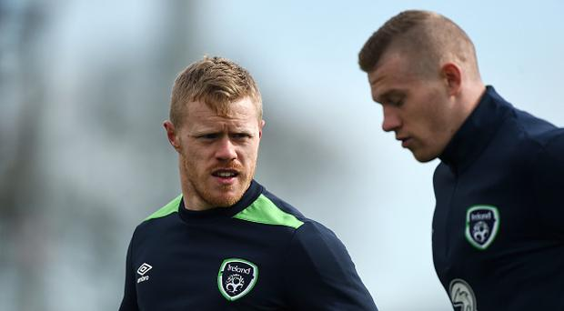Daryl Horgan, left, and James McClean of Republic of Ireland during squad training at FAI National Training Centre, in Abbotstown, Co. Dublin. (Photo By David Maher/Sportsfile via Getty Images)
