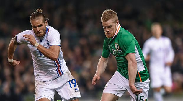 Dublin , Ireland - 28 March 2017; Daryl Horgan of Republic of Ireland in action against Olafur Ingi Skulsaon of Iceland during the International Friendly match between the Republic of Ireland and Iceland at the Aviva Stadium in Dublin. (Photo By Matt Browne/Sportsfile via Getty Images)