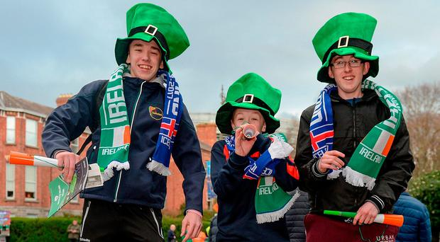 Supporters Jack (18) and Corey Walsh (12) and Daniel Young (17), from Kilkenny. Photo: Cody Glenn