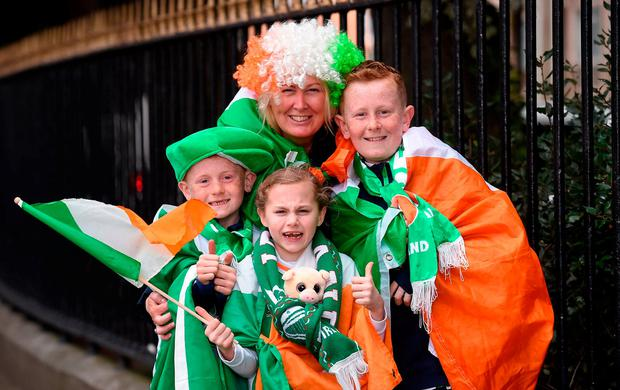 Samantha McEntee with sons Ciaran (8) and Connor (11) and their cousin Robyn Winston (8), from Navan, Co Meath. Photo: Matt Browne