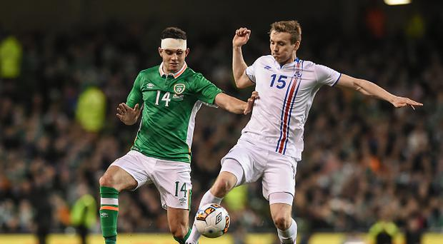 Dublin , Ireland - 28 March 2017; Kari Arnason of Iceland in action against John Egan of Republic of Ireland during the International Friendly match between the Republic of Ireland and Iceland at the Aviva Stadium in Dublin. (Photo By Matt Browne/Sportsfile via Getty Images)