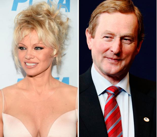 Pamela Anderson, left, and Enda Kenny, right