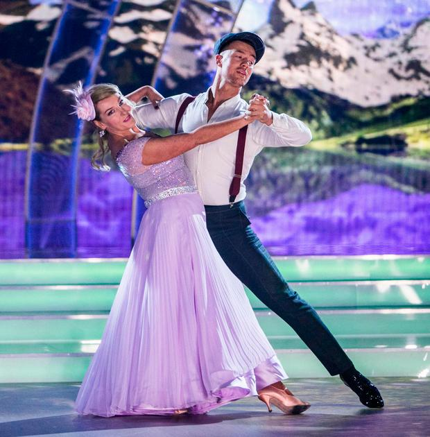 Katherine Lynch with partner Kai Widdrington on Dancing with the Stars. Photo: Kieran O'Brien