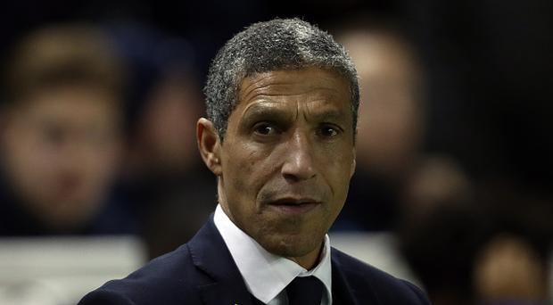 Brighton & Hove Albion manager Chris Hughton looks on prior to Brighton's match with Derby County at the Amex Stadium. (Photo by Bryn Lennon/Getty Images)