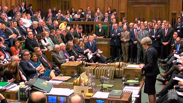 Prime Minister Theresa May speaks during Prime Minister's Questions in the House of Commons, London. Credit: PA Wire