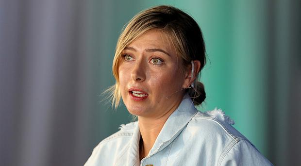 Maria Sharapova of Russia making a key note speech during the ANA Inspiring Women in Sports Conference. (Photo by David Cannon/Getty Images)