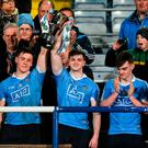 Dublin joint captains Con O'Callaghan, left, and Cillian O'Shea lift the cup after the EirGrid Leinster GAA Football U21 Championship Final match between Dublin and Offaly at O'Moore Park in Portlaoise, Co Laois. Photo by David Maher/Sportsfile