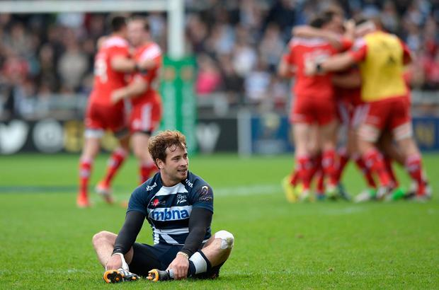 Cipriani reacting to Sale's defeat against Munster in 2014. Photo: Gareth Copley/Getty Images