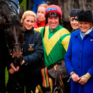 Owner Alan Potts and jockey Robbie Power with Sizing John after the Gold Cup – the pair will now have a formal agreement in place. Photo by Cody Glenn/Sportsfile