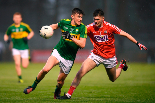 Sean O'Shea of Kerry in action against Aidan Browne of Cork. Photo by Stephen McCarthy/Sportsfile