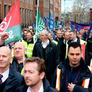 Bus Éireann strikers and supporters at the demonstration outside Leinster House yesterday. Photo: Tom Burke