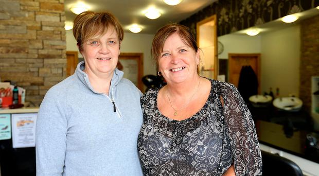 Brenda McAnespie with sister-in-law Margot Loughran, at Margo's Hair Salon in Aughnacloy, Co Tyrone. Photo: Frank McGrath