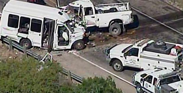 A still image of aerial video is shown of an accident scene involving a Texas church bus carrying senior citizens which crashed head-on with another vehicle about 80 miles (130 km) west of San Antonio, Texas, U.S., March 29, 2017. Courtesy WOAI/KABB/Handout via REUTERS