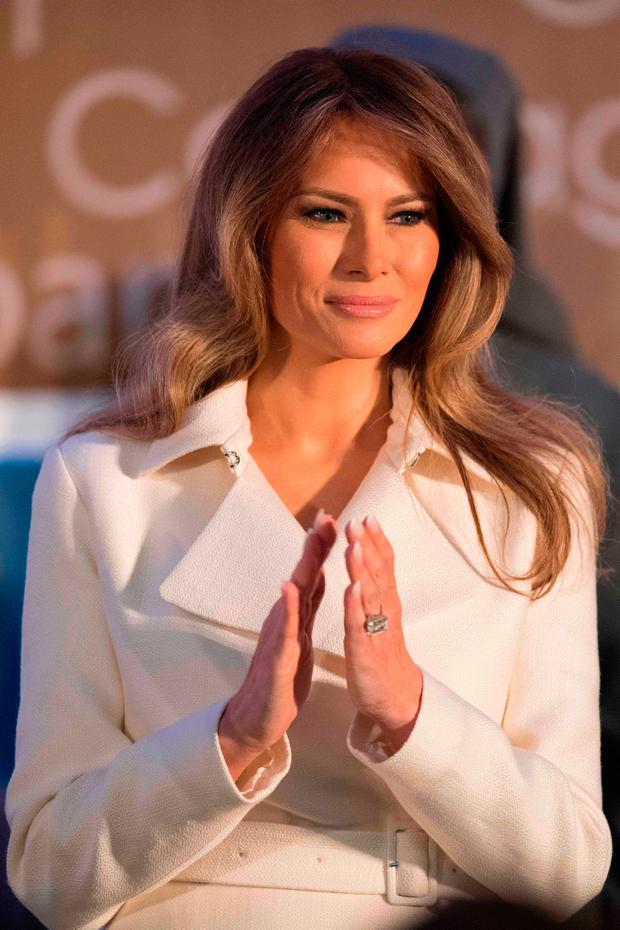 First Lady Melania Trump honors International Women of Courage during a ceremony at the State Department in Washington, DC, March 29, 2017. / AFP PHOTO / JIM WATSONJIM WATSON/AFP/Getty Images